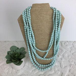 Plunder Multi- Strand Light Blue Beaded Necklace